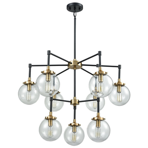 Boudreaux 9-Light Chandelier in Matte Black and Antique Gold