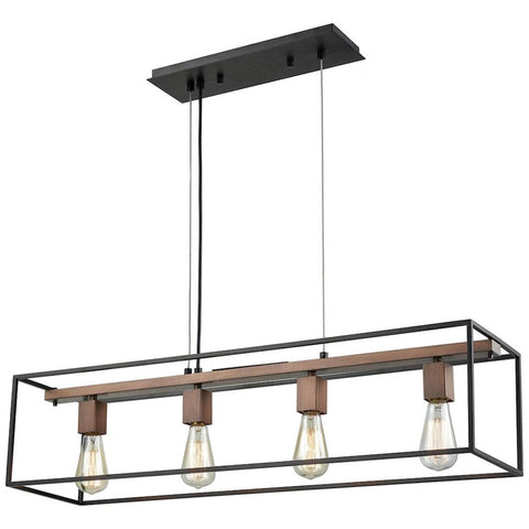 Rigby 4-Light Chandelier in Oil Rubbed Bronze and Tarnished Brass