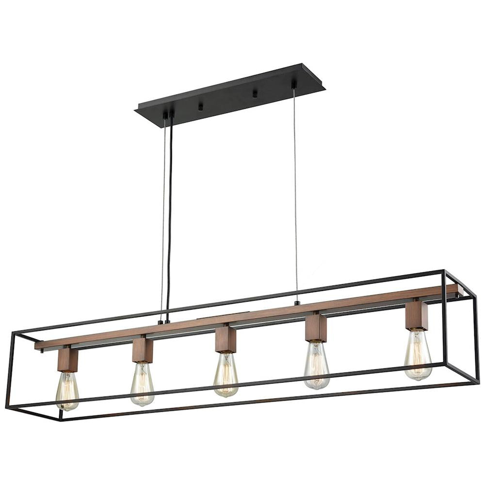 Rigby 5-Light Chandelier in Oil Rubbed Bronze and Tarnished Brass
