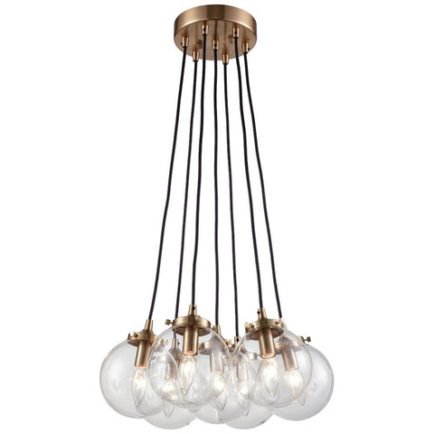 Boudreaux 7-Light Chandelier in Satin Brass with Clear Glass