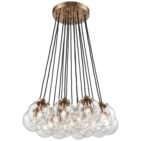 Boudreaux 17-Light Chandelier in Satin Brass with Clear Glass