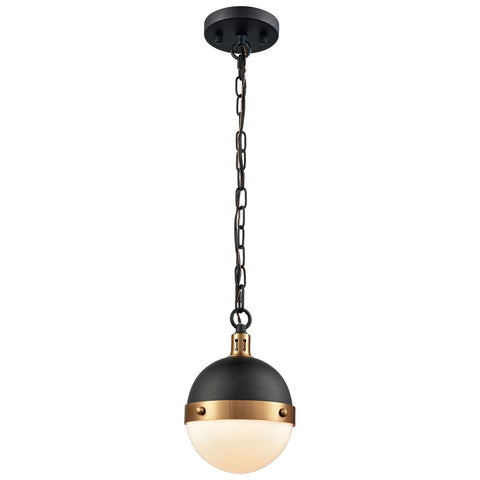 Harmelin 1-Light Pendant in Matte Black and Satin Brass