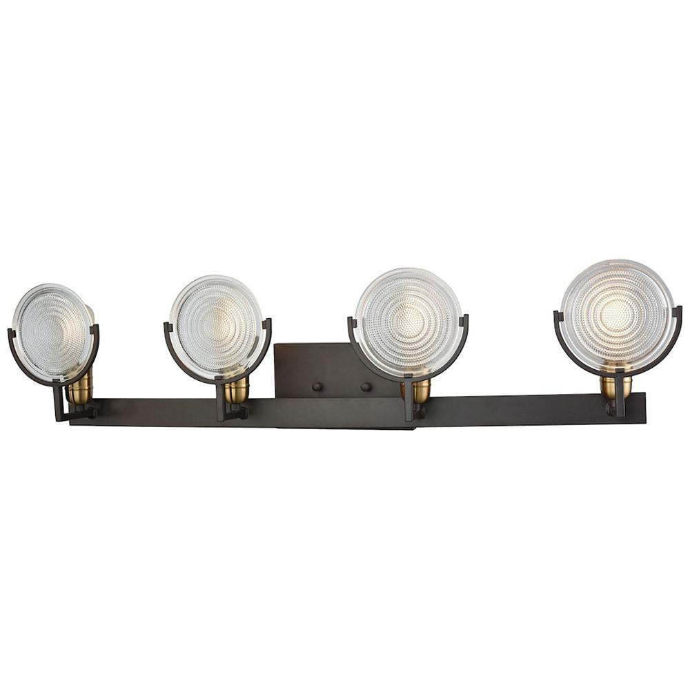 Ocular 4-Light Vanity in Oil Rubbed Bronze with Satin Brass Accents