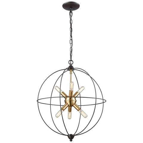 Loftin 6-Light Chandelier in Oil Rubbed Bronze with Satin Brass Accents