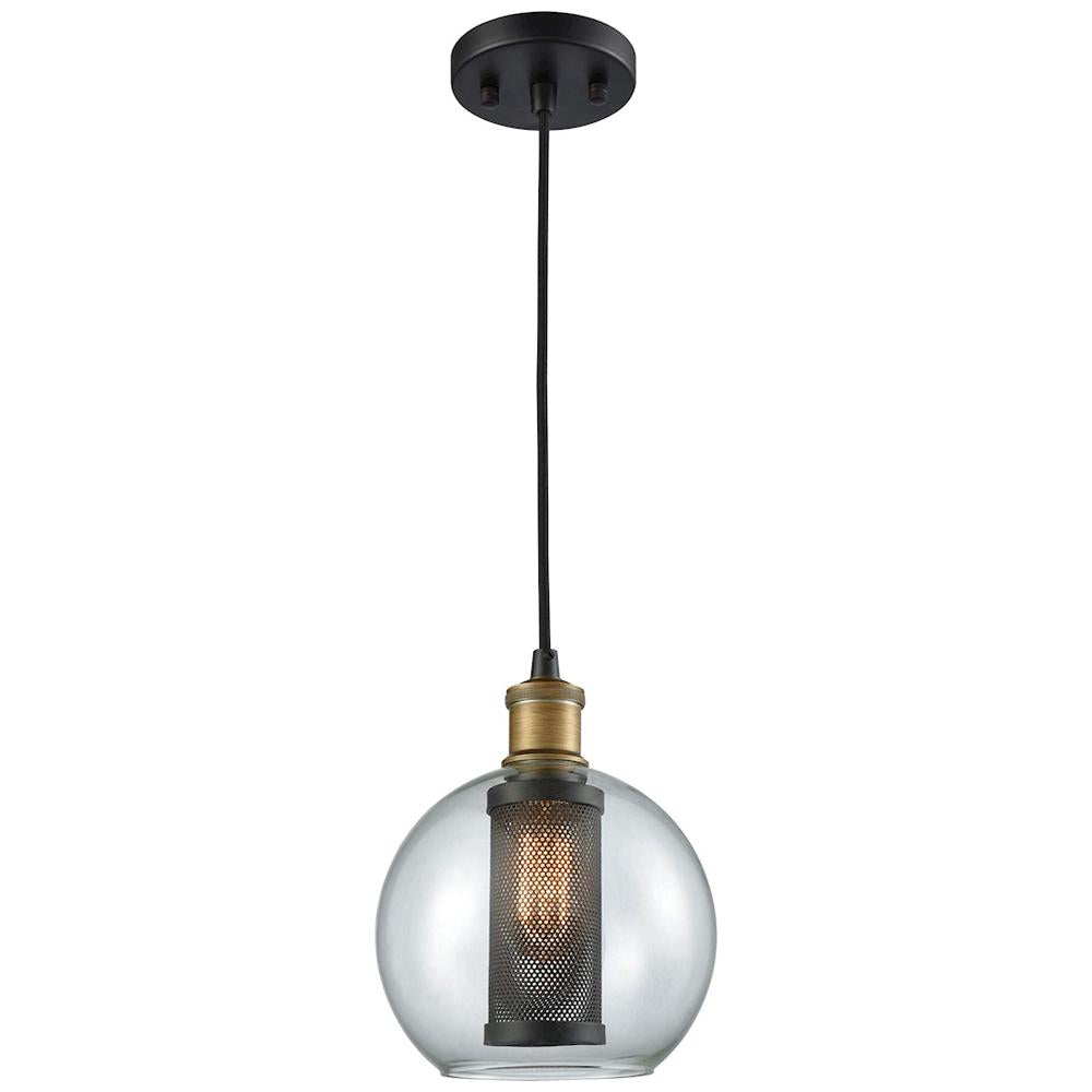 Bremington 1-Light Pendant in Oil Rubbed Bronze/Aged Gold with Clear Glass