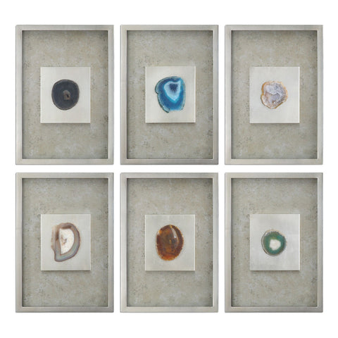 Agate Stone Silver Wall Art, Set of 6