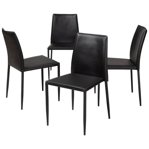 Baxton Studio Pascha Modern Faux Leather Upholstered Dining Chair, Set of 4