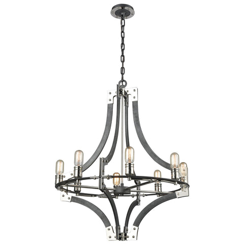 Riveted Plate 8-Light Chandelier in Silverdust Iron and Polished Nickel