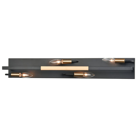 Heathrow 4-Light Vanity Light in Matte Black and Satin Brass
