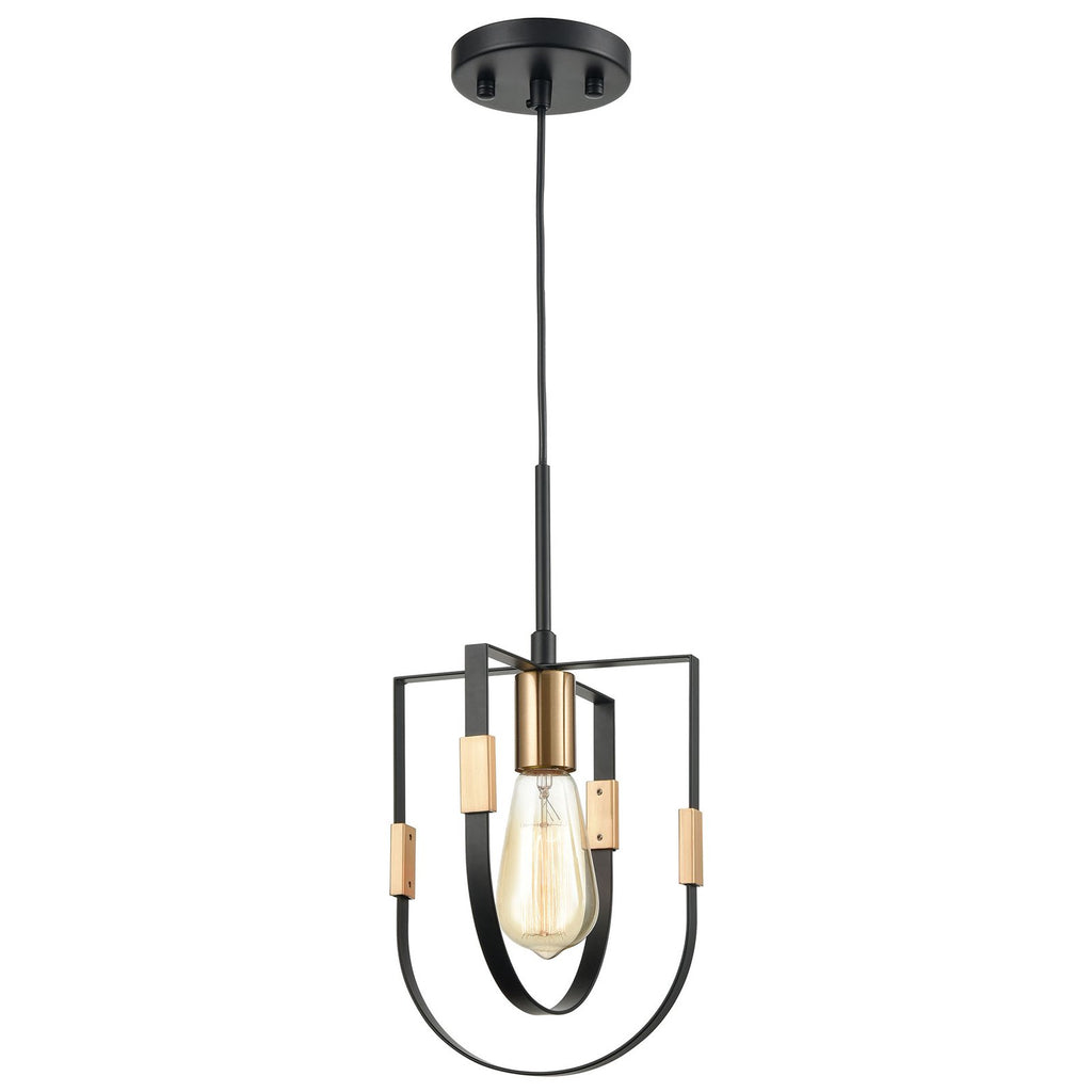Heathrow 1-Light Mini Pendant in Matte Black and Satin Brass