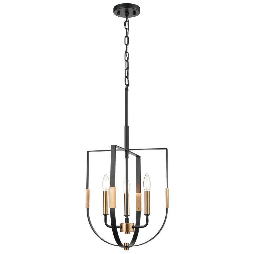 Heathrow 3-Light Pendant in Matte Black and Satin Brass