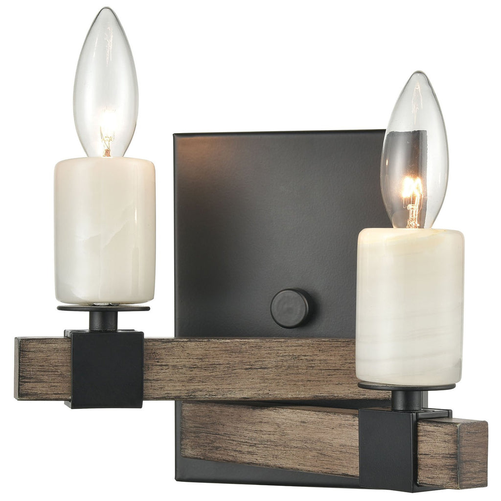 Stone Manor 2-Light Sconce in Aspen and Matte Black