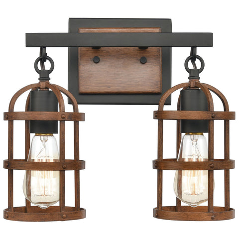 Millville 2-Light Vanity Light in Matte Black and Dark Oak