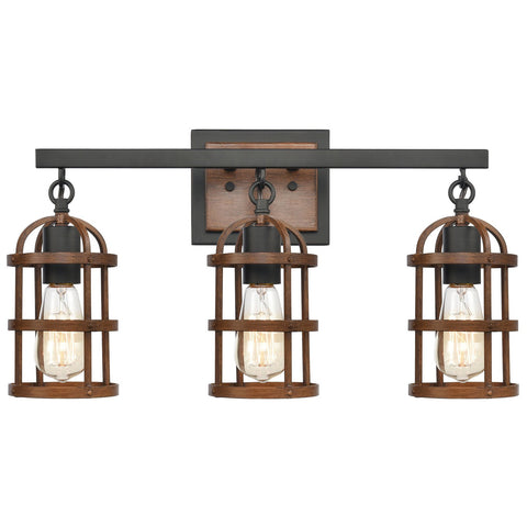 Millville 3-Light Vanity Light in Matte Black and Dark Oak