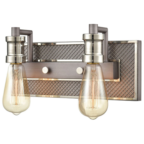 Gridiron 2-Light Vanity Light in Weathered Zinc and Polished Nickel