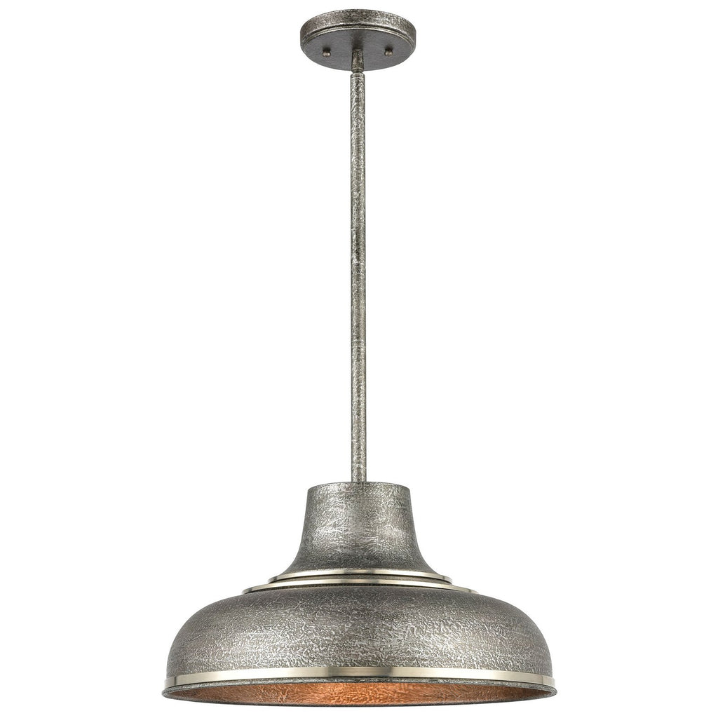 Kerin 1-Light Pendant with Textured Silvery Gray Metal Shade