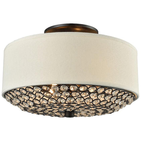 Webberville 2-Light Beige Shade Clear Crystals Oil Rubbed Bronze Semi Flush