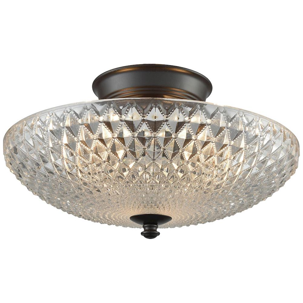 Sweetwater 3-Light Semi Flush in Oil Rubbed Bronze with Clear Crystal Glass