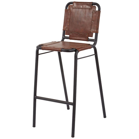 Industrial Leather and Metal Bar Stool in Black Iron