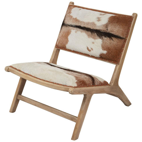 Organic Modern Hairon Leather Lounger in Mid-Tone Wood