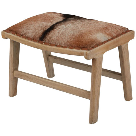 Organic Modern Hairon Leather Ottoman in Mid-Tone Wood