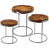 Natural Teak Slab Stacking Tables