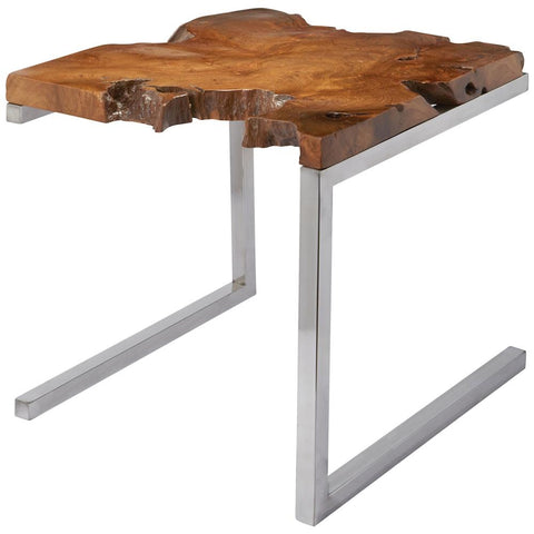 Teak Table on Angular Base in Stainless Steel