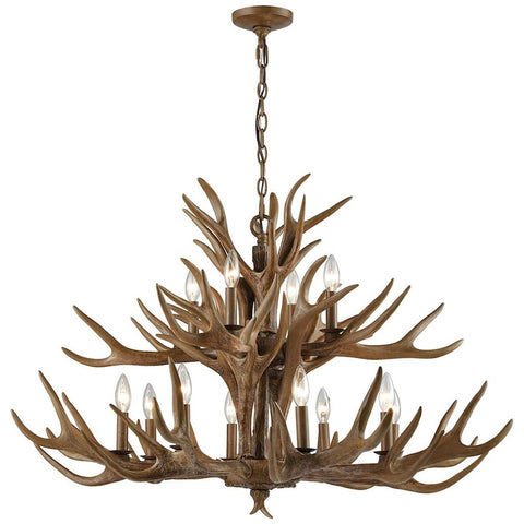 Elk 12-Light Chandelier in Wood Brown