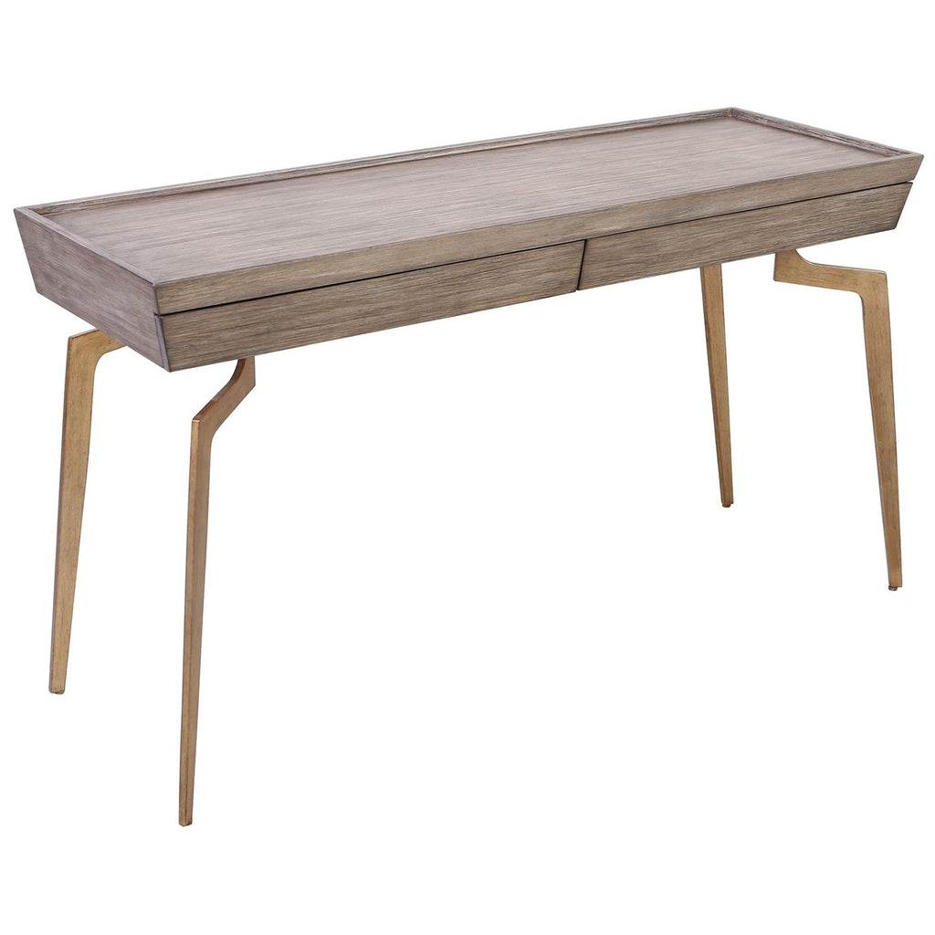 Larocca Console Table in Soft Gold and Grey Birch Veneer