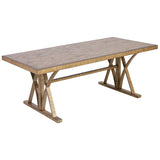 Better Ending Coffee Table in Bright Aged Gold and Brown Stained Solid Pine
