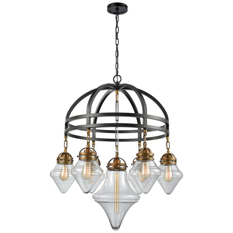 Gramercy 7-Light Chandelier in Oil Rubbed Bronze with Classic Brass Highlights