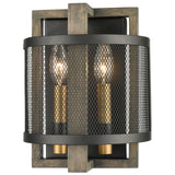 Woodbridge 2-Light Sconce in Weathered Oak and Aged Brass