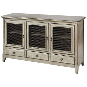 Walsh Three-door Antique Silver Leaf Cabinet