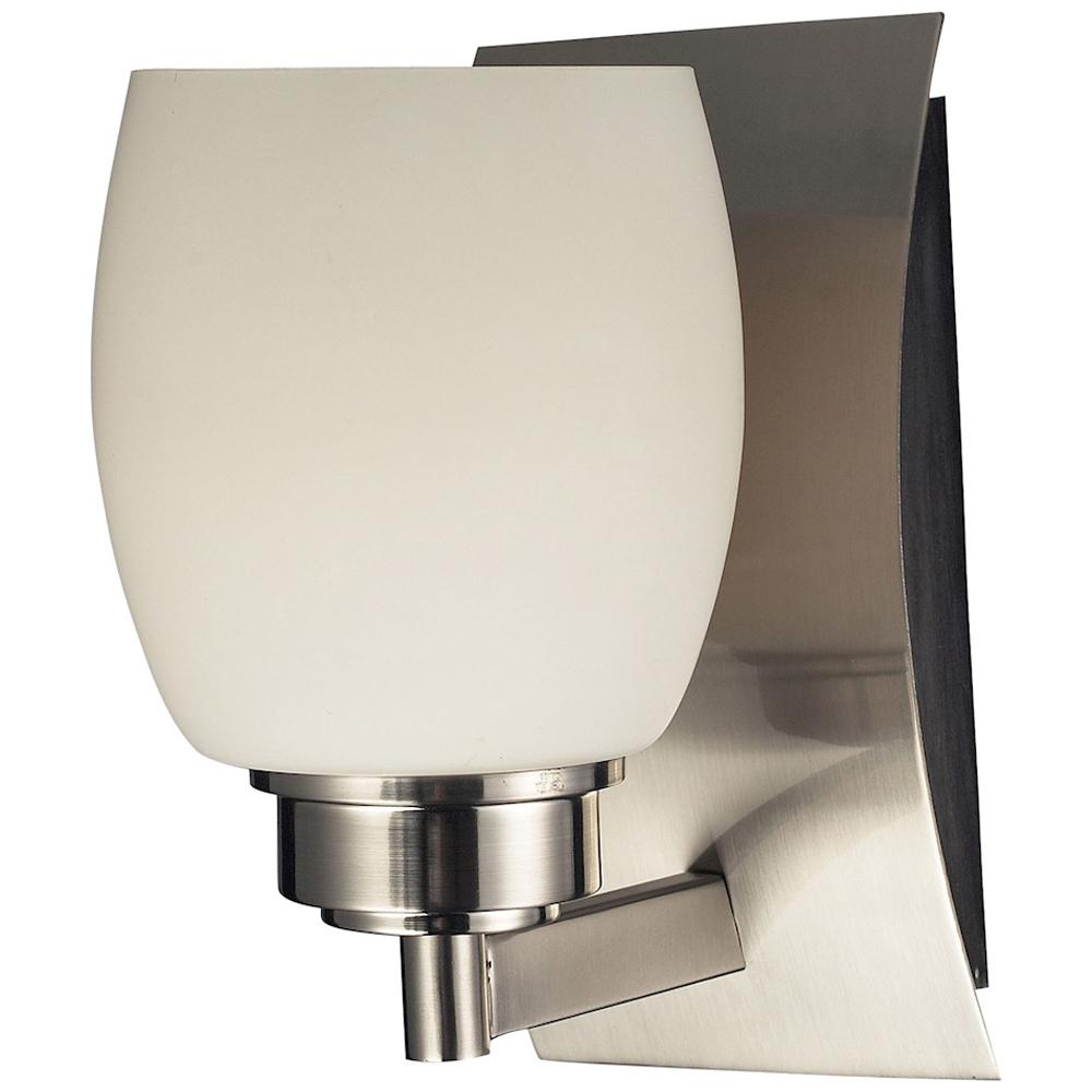 Northport 1-Light Vanity in Satin Nickel and Opal White Glass