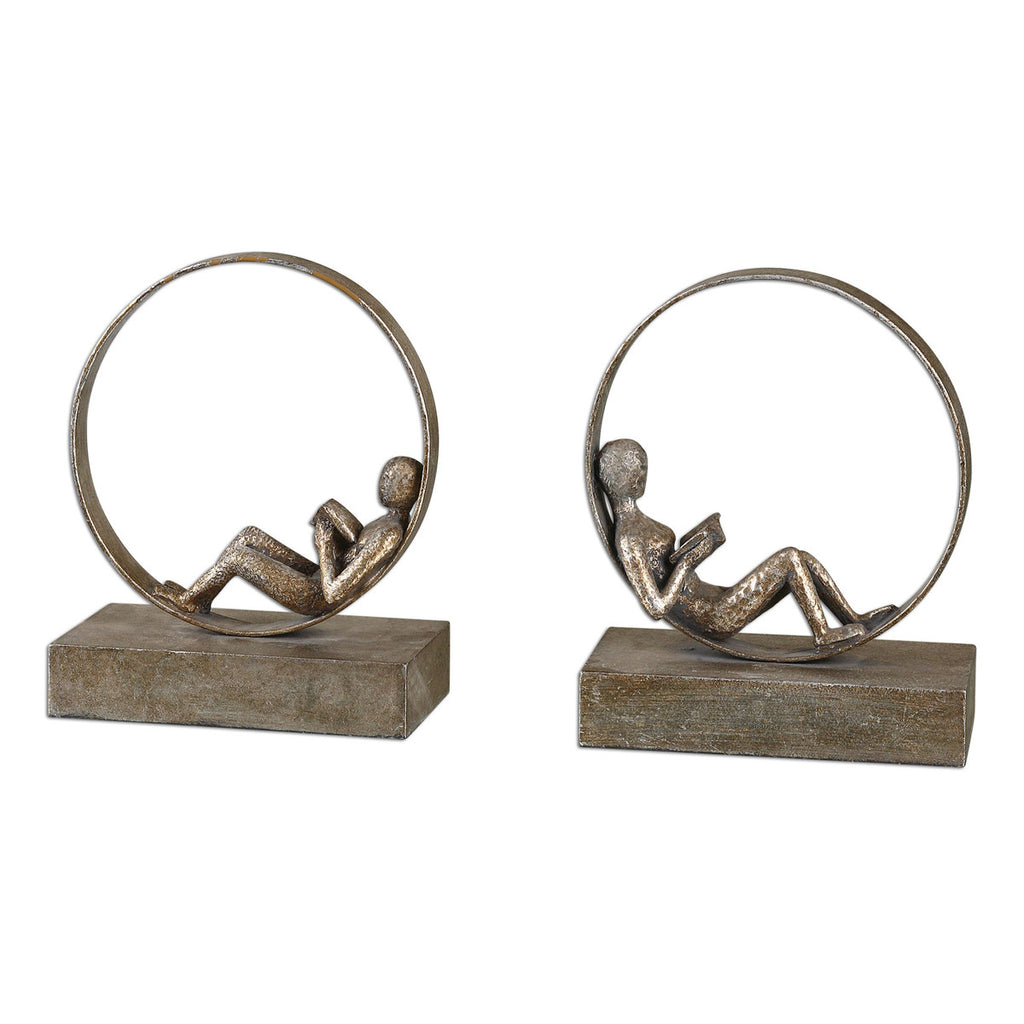 Lounging Reader Antique Bookends, Set of 2