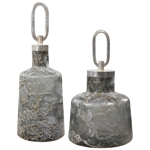 Uttermost Storm Art Glass Bottles, Set of 2