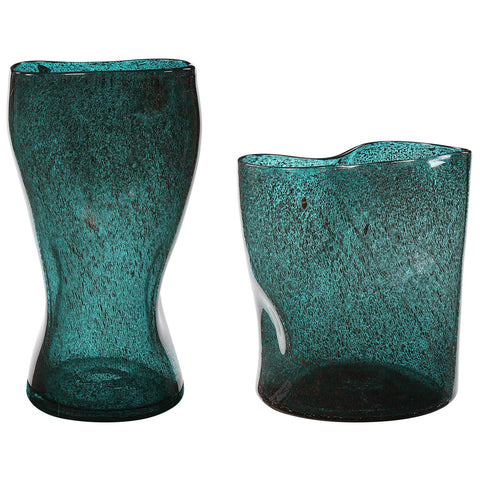 Uttermost Lulu Aqua Glass Vases, Set of 2