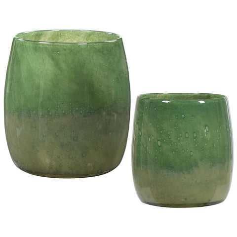 Uttermost Matcha Green Glass Vases, Set of 2