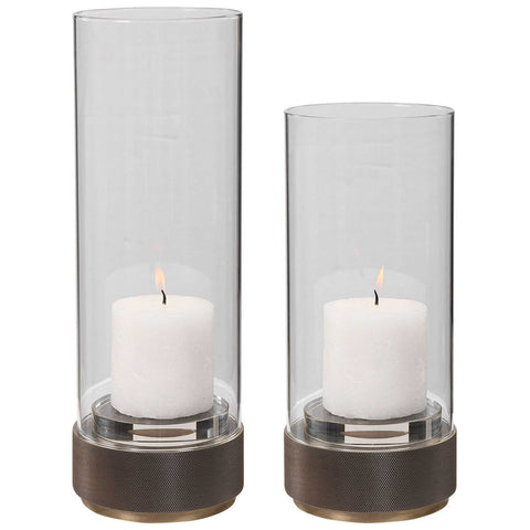 Uttermost Sandringham Brushed Brass Candleholders, Set of 2