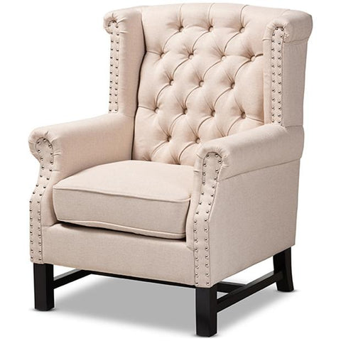 Baxton Studio Charrette Fabric Upholstered Button Tufted Armchair