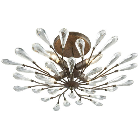 Crislett 4-Light Semi Flush in Sunglow Bronze With Clear Crystal