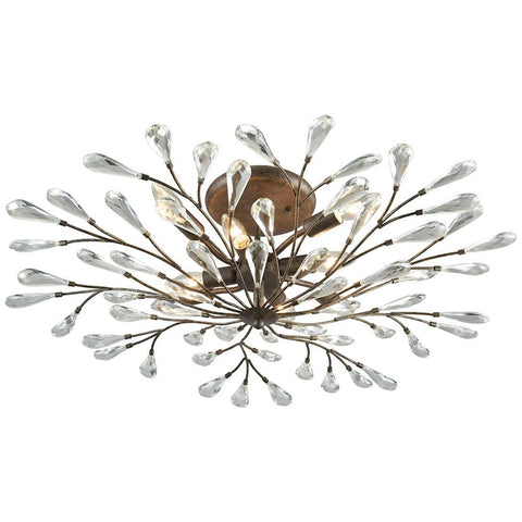 Crislett 8-Light Semi Flush in Sunglow Bronze With Clear Crystal