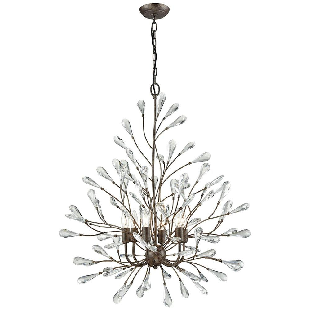Crislett 6-Light Chandelier in Sunglow Bronze With Clear Crystal