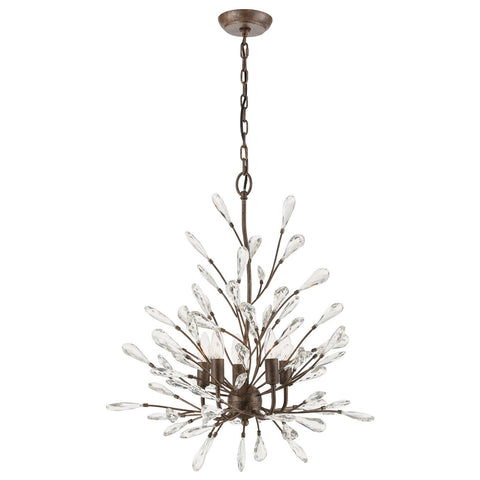 Crislett 5-Light Chandelier in Sunglow Bronze with Clear Crystal