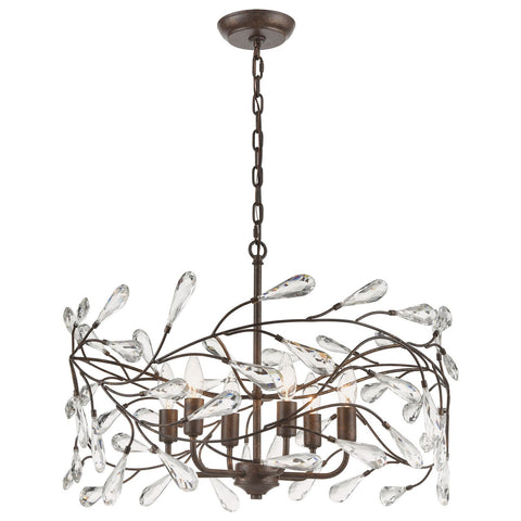 Crislett 23W x 23D x 13H Chandelier in Sunglow Bronze with Clear Crystal