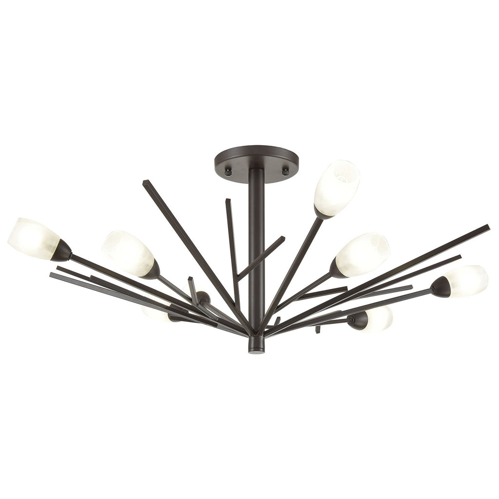 Ocotillo 8-Light Semi Flush Mount in Oil Rubbed Bronze with Frosted Glass