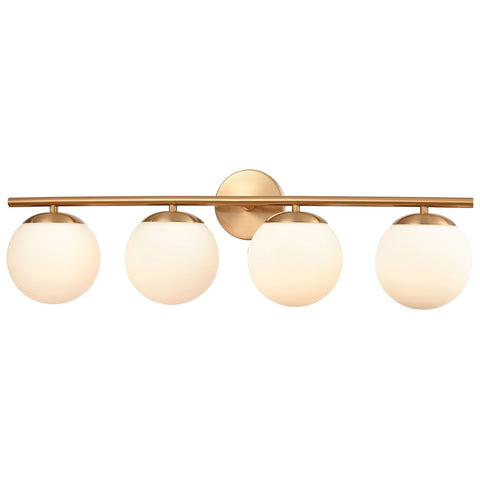 Hollywood Blvd. 4-Light Vanity Light in Satin Brass with Opal White Glass