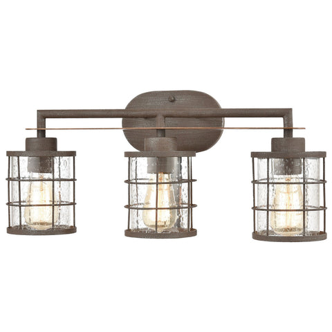 Gilbert 3-Light Vanity Light in Rusted Coffee and Light Wood with Seedy Glass