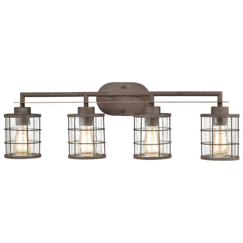 Gilbert 4-Light Vanity Light in Rusted Coffee and Light Wood with Seedy Glass