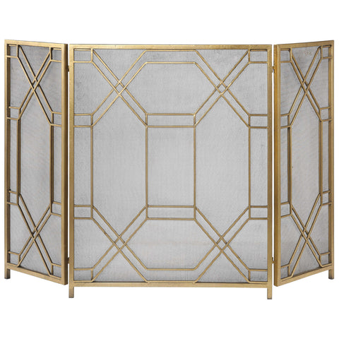 Uttermost Rosen Antiqued Gold Leaf Fireplace Screen